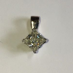 Jewelry - 14KT Gold 1/2CT Princess Diamond Solitaire Pendant